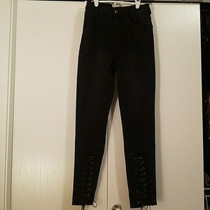 American Eagle Black Lace Up Jeans